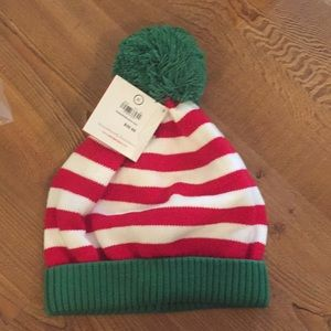 Hanna Anderson Christmas striped Pom Pom hat